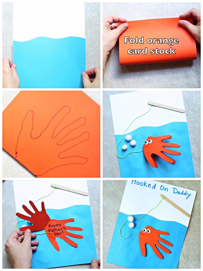 bricolage d'une carte fete des peres maternelle, carte pâche avec poisson empreinte de main