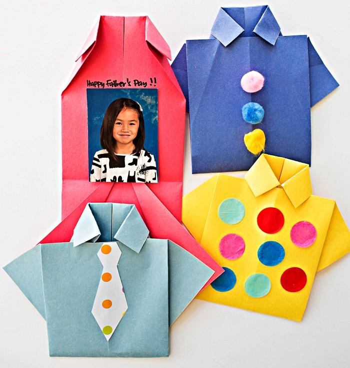 petites chemises origami qui cachent des photos personnalisées, bricolage fete des peres cadeau fait-maison à fabriquer avec les plus petits
