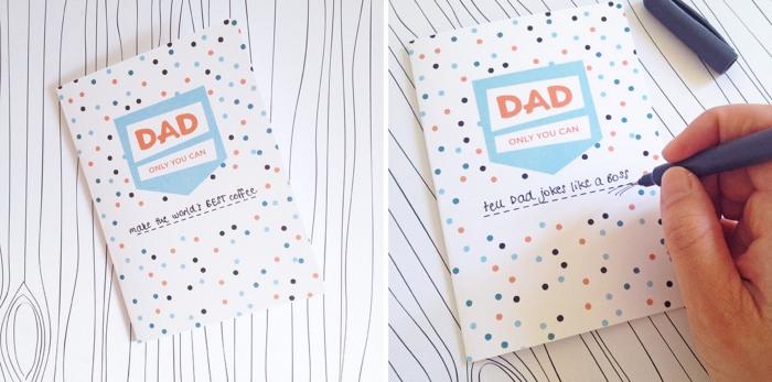 exemple de carte à imprimer pour la fête des pères, diy carte en papier cartonné avec étiquette meilleur papa