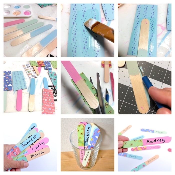cadeau maîtresse école pour choisir un élève, battonnets de glace repeints et décorés de papier coloré avec les prénoms d élèves marqués dessus