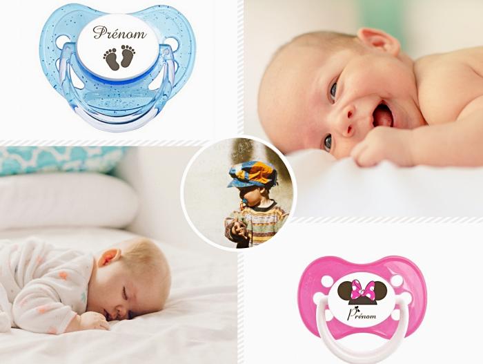 idée cadeau personnalisé pour un nouveau né, choisir une sucette ou attache tetine personnalisée pas cher