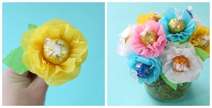 idee cadeau maitresse a faire soi meme, bouquet de bonbons au chocolat lindor entourés de fleur de papier de soie