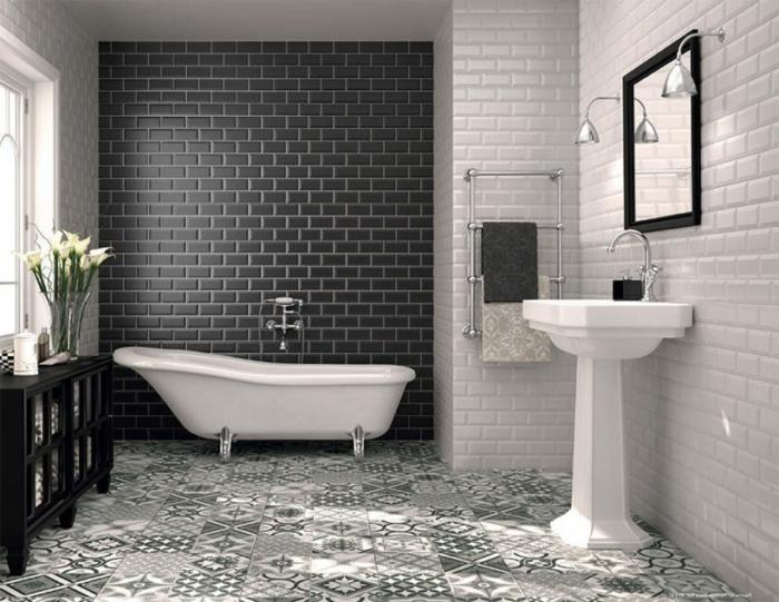 salle de bain, carrelage sol carreaux de ciment, faience salle de bain noir et blanc, lavabo colonne