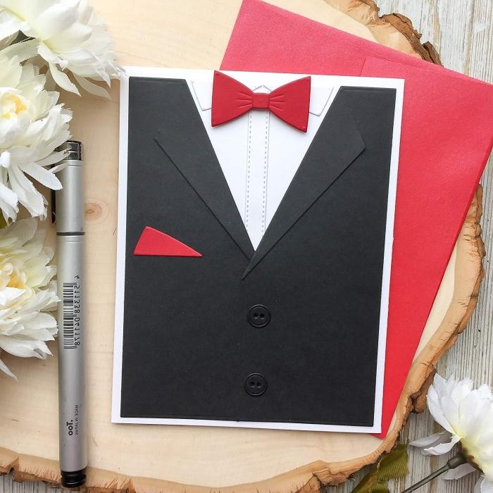 fabriquer une carte originale pour la fête des pères en papier cartonné, diy carte design smoking noir avec papillon rouge