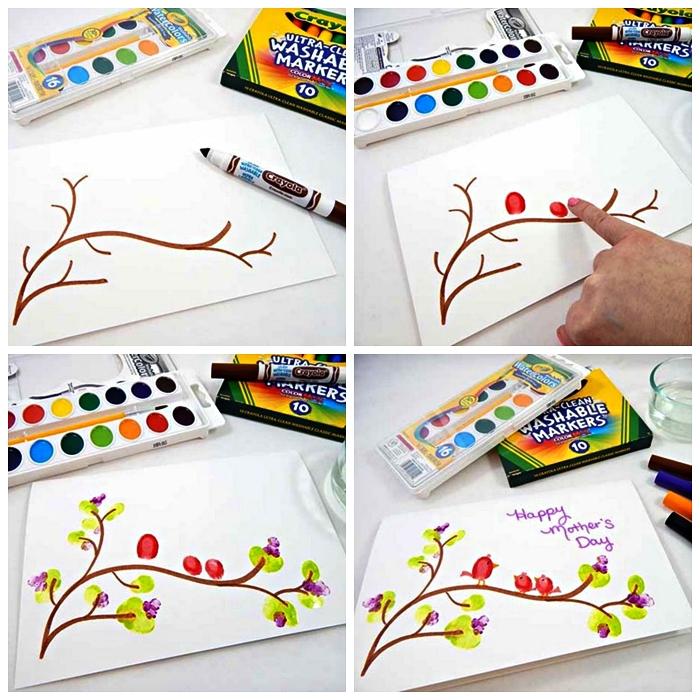 petit bricolage en papier à réaliser avec les enfants de l'école maternelle pour célébrer les mères, dessin oiseaux perchés sur une branche réalisé avec des empreintes de doigts