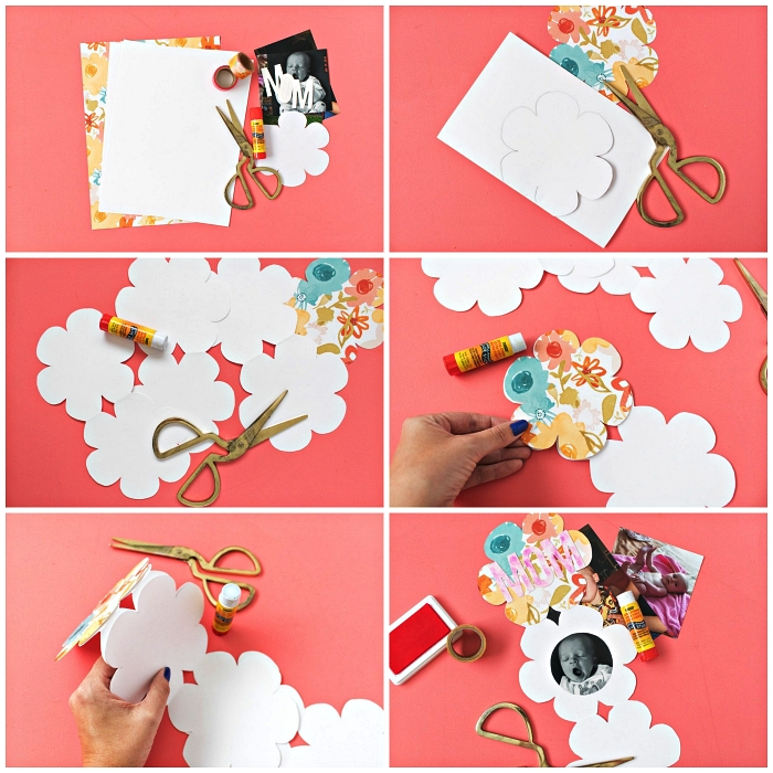 carte fête des mères maternelle, fabriquer une carte fleur en accordéon personnalisée avec une photo et une décoration en masking tape