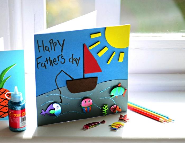 idee fete des peres bricolage pour les plus petits, une carte de fête des pères personnalisée avec des motifs mer en 3d