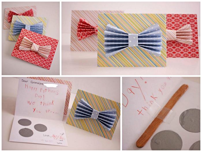 diy carte fête des pères à gratter au décor noeud de papillon en papier scrapbooking, cadeau fait-maison pour la fête des pères à réaliser avec les enfants de l'école maternelle