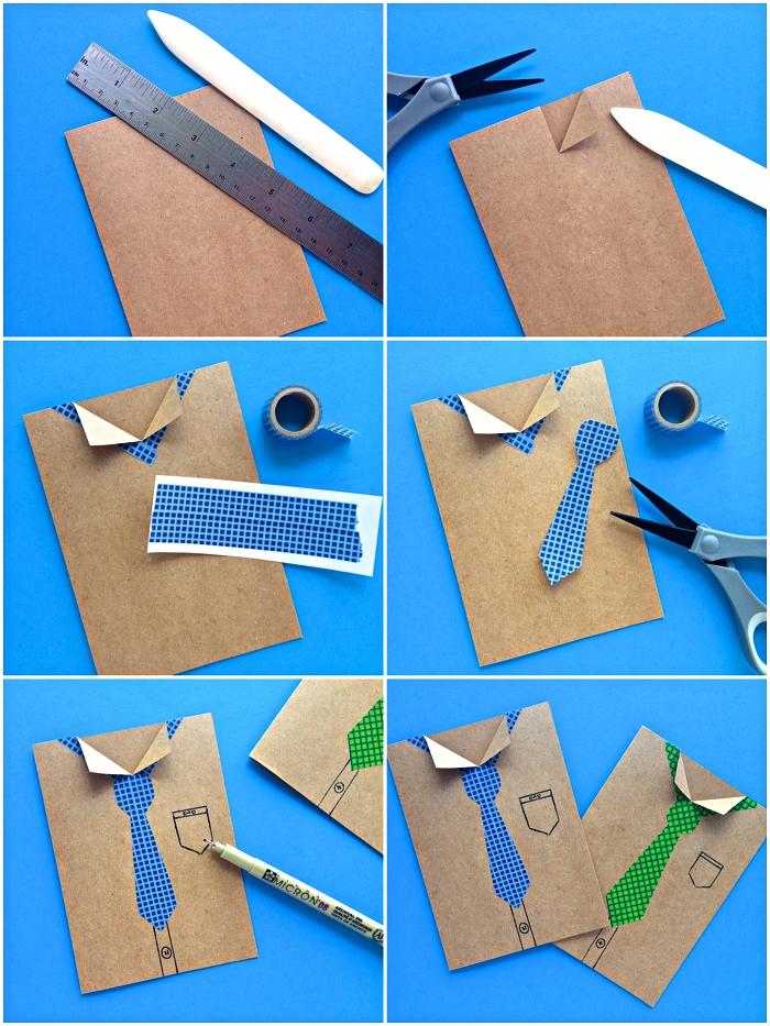 jolie carte fête des pères façon chemise avec cravate en masking tape, activité manuelle pour les plus petits à l'occasion de la fête des pères