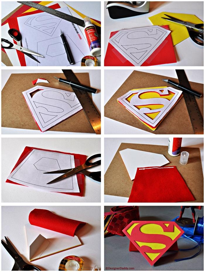 bricolage fete des peres cadeau personnalisé à fabriquer à l'école maternelle, une carte de fête des pères avec le logo de super men à imprimer et à customiser