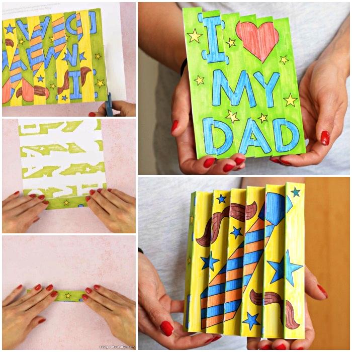 idee fete des peres bricolage à l'école maternelle, cartes personnalisées en accordéon avec dessins et mots doux pour papa