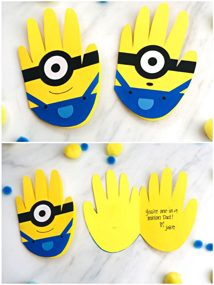 carte fête des pères minion réalisée avec les empreintes de mains de l'enfant avec message personnalisé pour la fête des pères