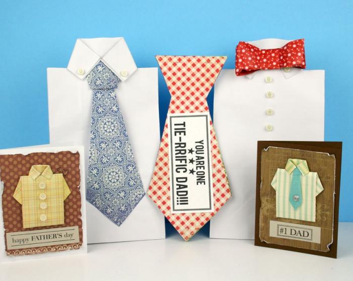modèles de carte scrapbooking facile et rapide pour la fête des pères, idée carte fete des peres en papier coloré