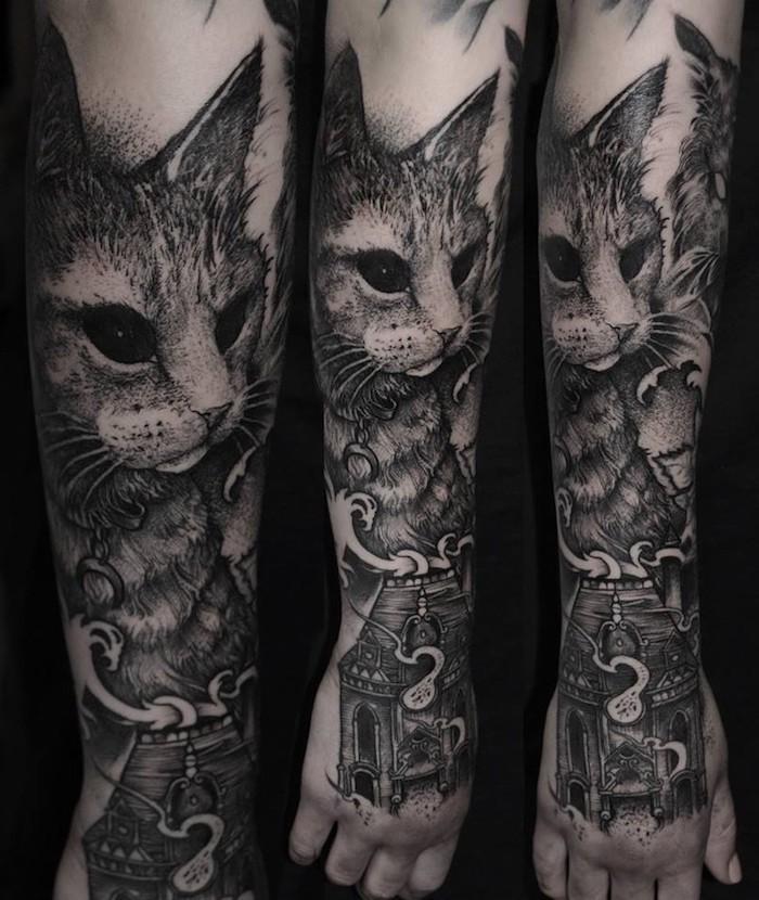 dessin de chat et une temple aux pieds, idée de tatouage entier de bras et main, dessin réaliste d animal