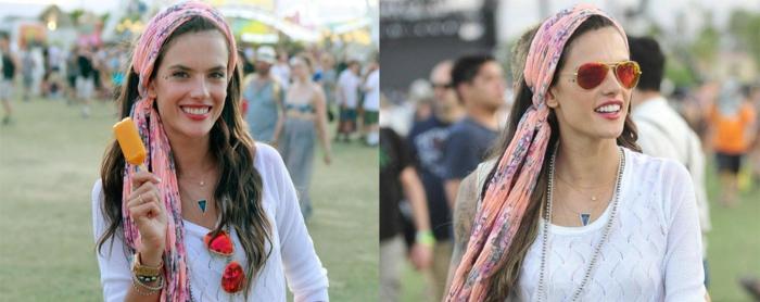style boheme chic, bandeau rose, femme au look boheme chic, lunettes de soleil, festival de musique
