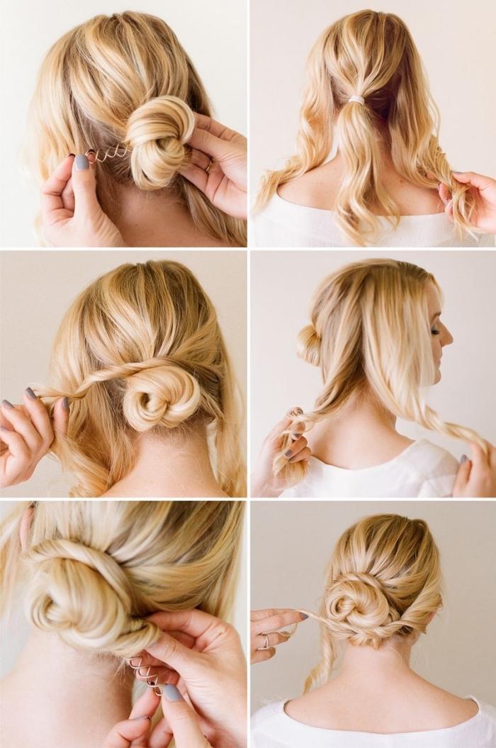 exemple comment faire un chignon mariage simple, pas à pas pour réaliser un chignon bas sur cheveux longs