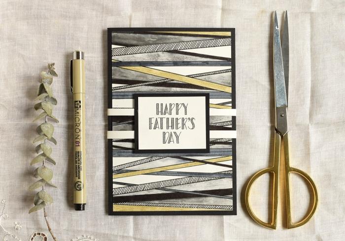 modèle de carte fait main en papier cartonné blanc décoré aux motifs géométriques en marqueur noir, diy carte fête des pères à fabriquer