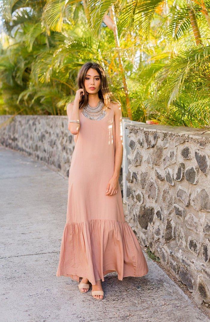 Rose pale robe boheme longue, fluide robe longue bohème, femme robe longue de plage, cheveux mi-longs