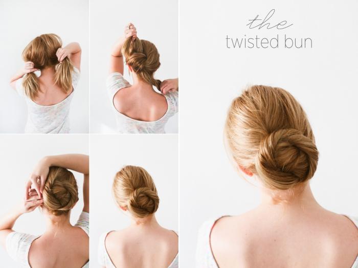 exemple de chignon mariage facile à faire, comment réaliser un chignon bas élégant pour mariage, coiffure simple et rapide