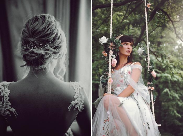 exemple de chignon bas bouclé avec accessoire, modèle de chignon mariage flou avec accessoire à design floral