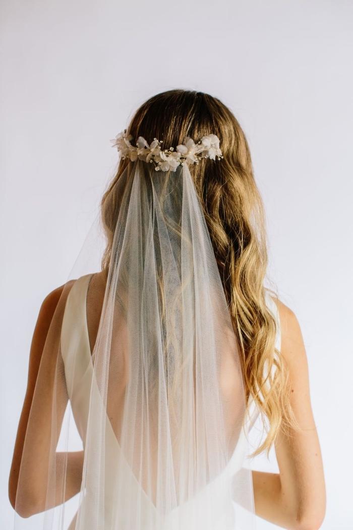 comment porter ses cheveux mariage avec voile, exemple de coiffure romantique avec boucles et serre-tête voile