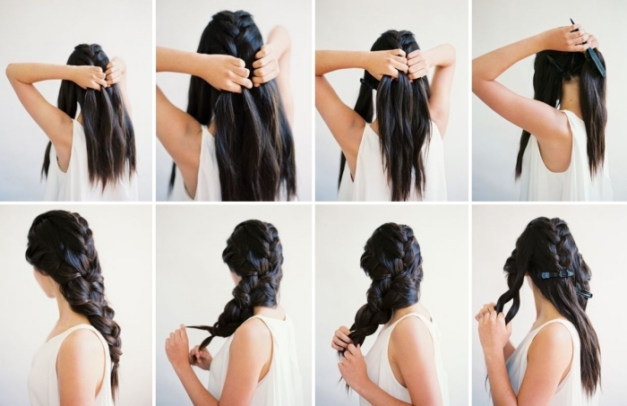 pas à pas pour réaliser une grosse natte sur cheveux longs, idée coiffure simple et rapide pour mariée aux cheveux attachés