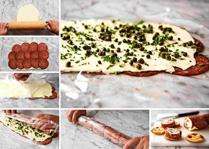 comment faire des roulés de salami au fromage à la crème, un aperitif dinatoire facile et rapide pour 10 personnes