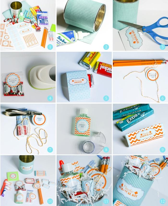 idee cadeau maitresse fait main, le kit de survie d une maitresse avec toute sorte de fournitures de bureau, chewing gum, bonbons, baume à lèvres et autres objets