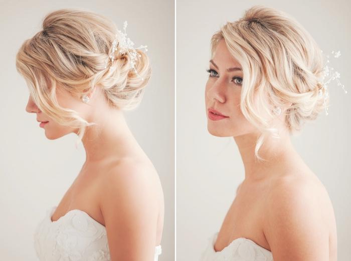 exemple de coiffure facile a faire, chignon flou avec boucles et accessoire branche fleurie, idée boucles d'oreilles mariée