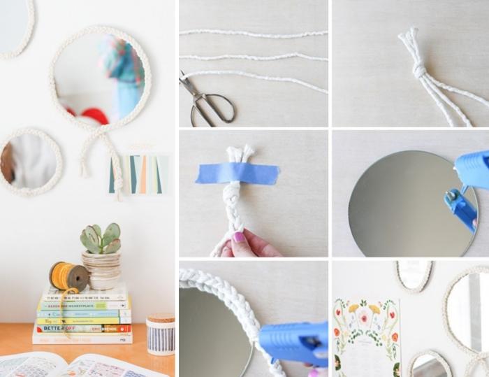 activité manuelle sur thème deco mer, modèle de miroir personnalisé avec corde blanche, pas à pas facile pour personnaliser un miroir