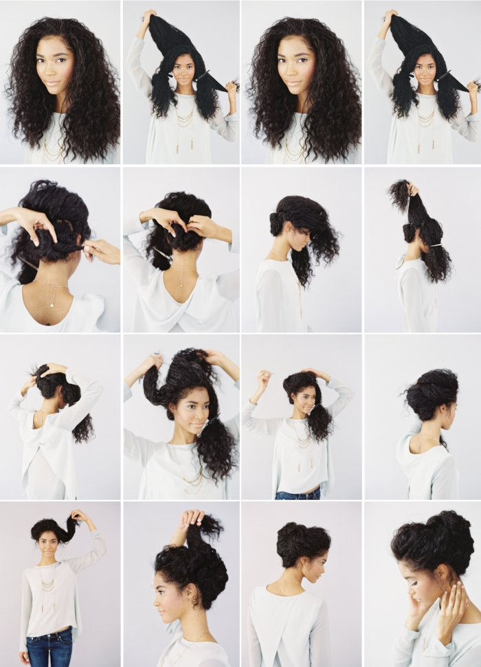 modèle de coiffure mariage chignon pour cheveux frisés, pas à pas pour réaliser un chignon haut flou avec volume sur le haut