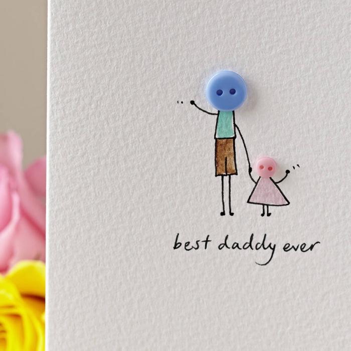 carte scrapbooking facile pour papa, carte fête des pères maternelle, diy carte en papier cartonné avec déco boutons