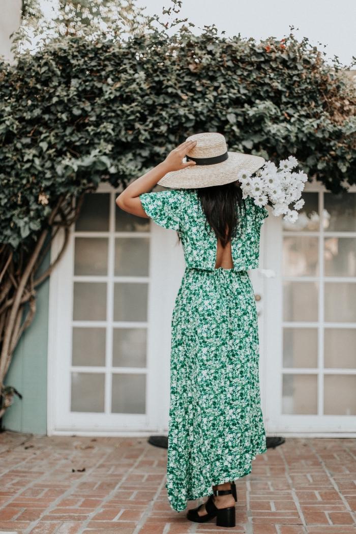 idée robe ceremonie femme, comment s'habiller pour un mariage été, exemple robe habillée couleur verte avec dos nu