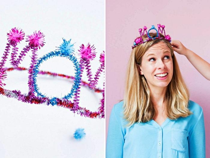 idée de cadeau fête des mères a faire soi meme, fabriquer une couronne en fils chenille pour la fête des mères