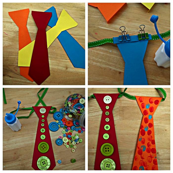 bricolage fête des pères pour les plus petits, des cravates en carton aux petits embellissements à fabriquer avec les enfants de l'école maternelle