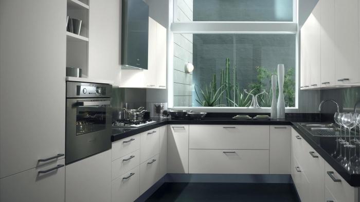 implantation cuisine en forme de U, comment aménager une petite cuisine sur trois murs, exemple de cuisine blanc et noir