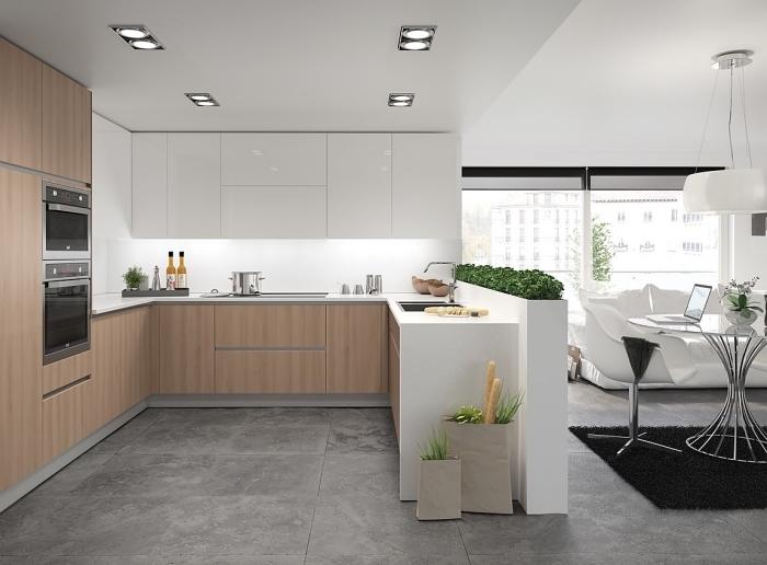 idée aménagement cuisine, meubles de cuisine en blanc sans poignées, exemple spots led éclairage du plafond