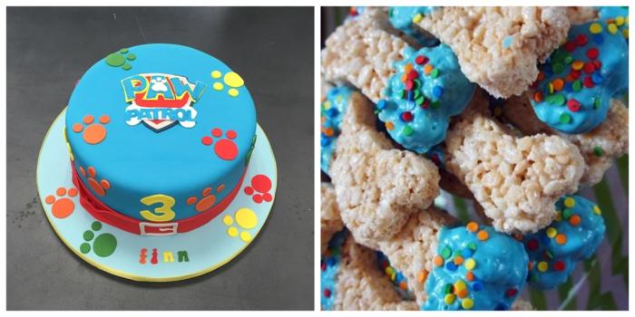 idées délices d anniversaire à thème pat patrouille, os de chien au topping bleu, gâteau aux pattes imprimées