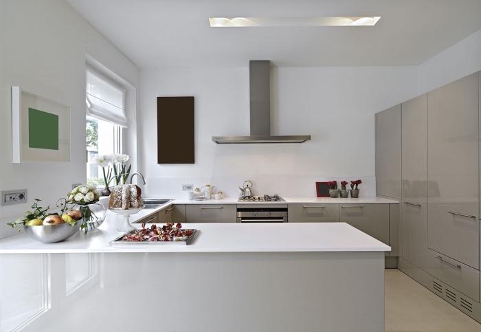 exemple de cuisine blanche avec armoires gris clair, idée cuisine en u avec bar, modèle de cuisine complete pas cher