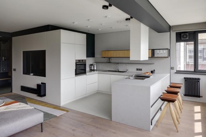 comment aménager une cuisine en u avec ilot, exemple implantation cuisine U, quelles couleurs pour une cuisine moderne