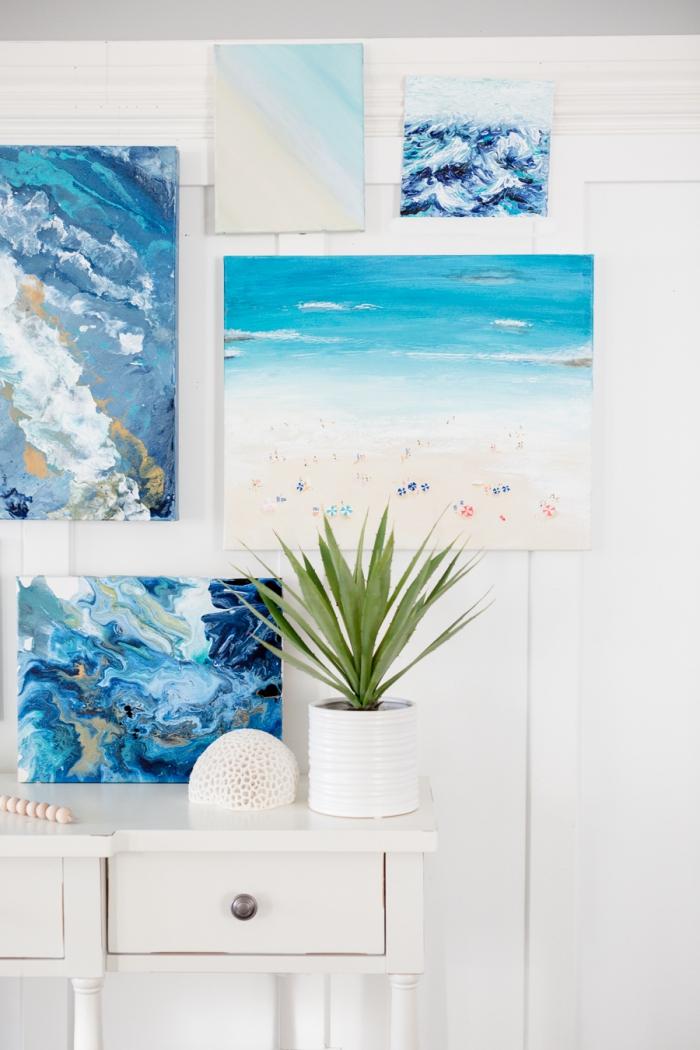 comment peindre un paysage océanique, art mural à faire soi-même, idée decoration marine avec une peinture facile