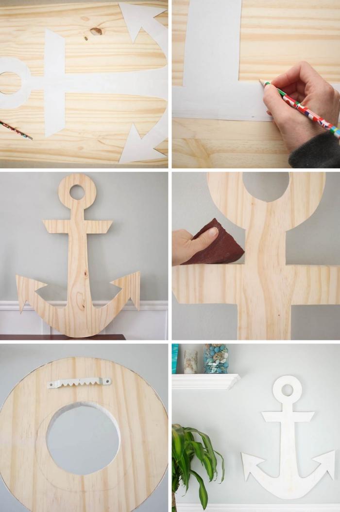 pas à pas facile sur thème marine, idée fabrication de décoration murale, exemple de DIY decoration bord de mer pas cher