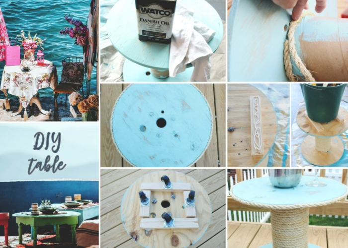 projet créatif pour faire une table sur thème marine, idée meuble recup avec peinture turquoise et corde marine