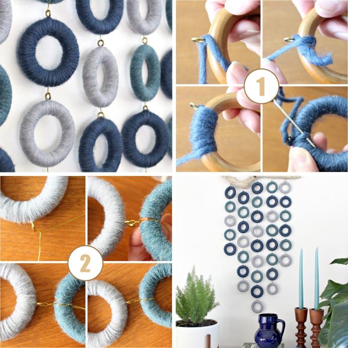 étapes à suivre pour réaliser une decoration marine facile, modèle de suspension murale DIY en cordes bleu et gris