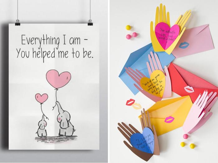 idée carte pour père à colorer, modèle de carte origami en papier coloré plié en forme de mains, exemple de carte fête des pères à fabriquer