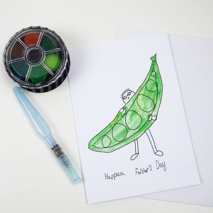 modèle de carte en papier blanc cartonné décoré avec dessin facile maternelle, idée dessin fete des peres facile avec marqueur noir