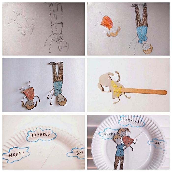 bricolage fête des pères maternelle avec des assiettes en carton, décorer une assiette avec un jolie dessin de père et fille