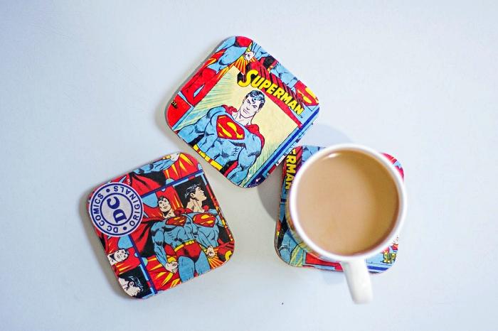 des dessous de verre personnalisés avec les super héros favoris de tous les pères, cadeau fete des peres original sur le thème des super héros