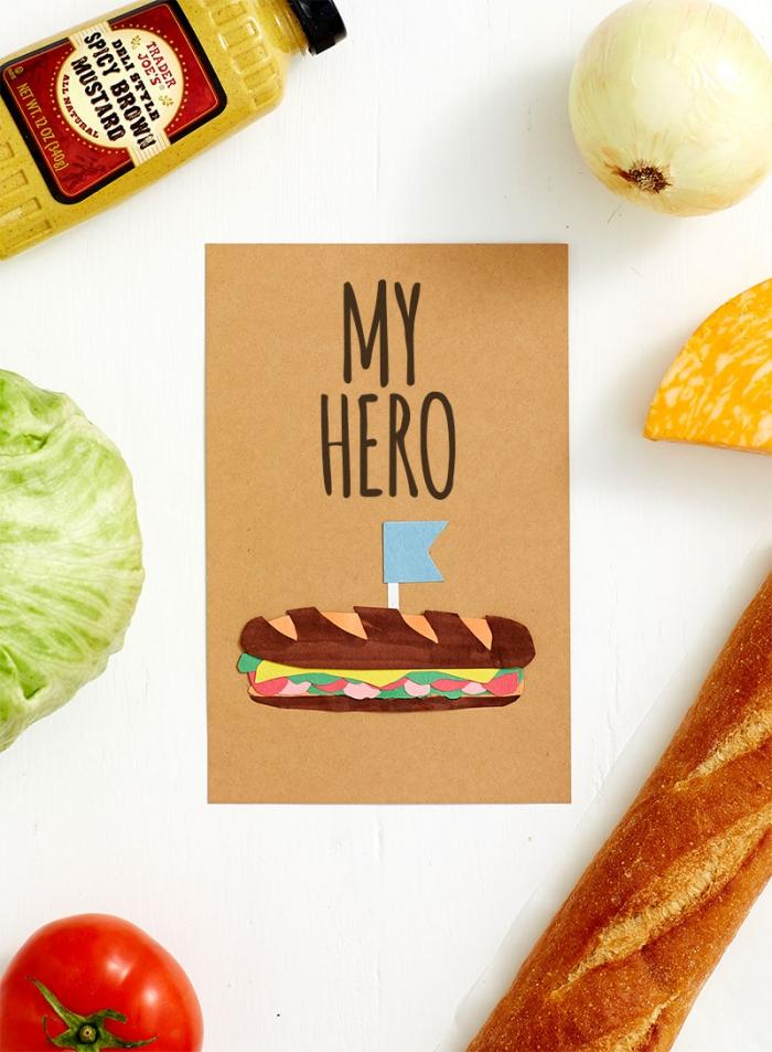 modèle de carte papa héros en papier cartonné avec figurine en papier coloré sandwich, idée activité facile fête des pères
