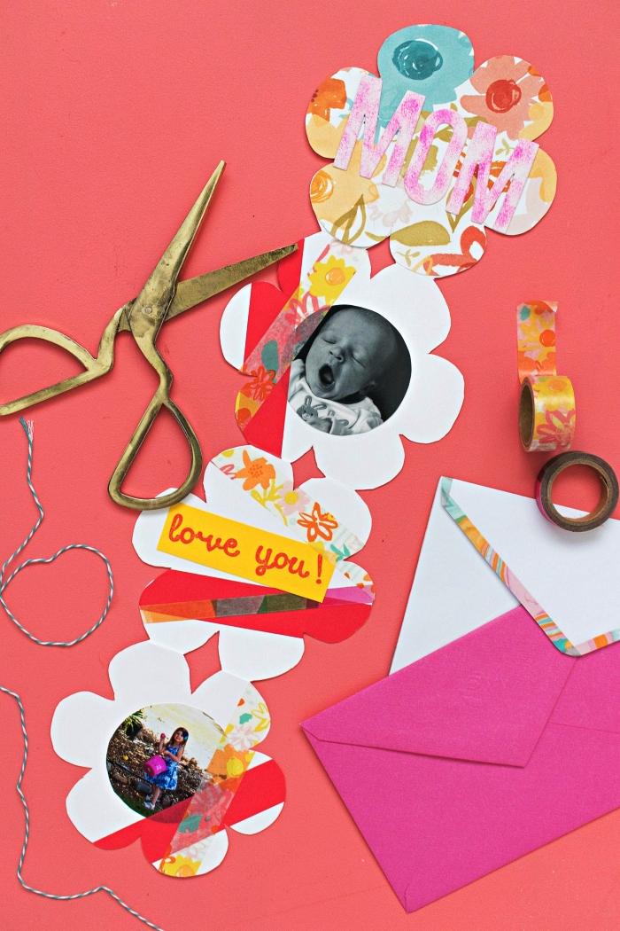 une carte fête des mères maternelle à fabriquer avec les enfants, carte fleur en accordéon avec photo et jolie décoration en masking tape